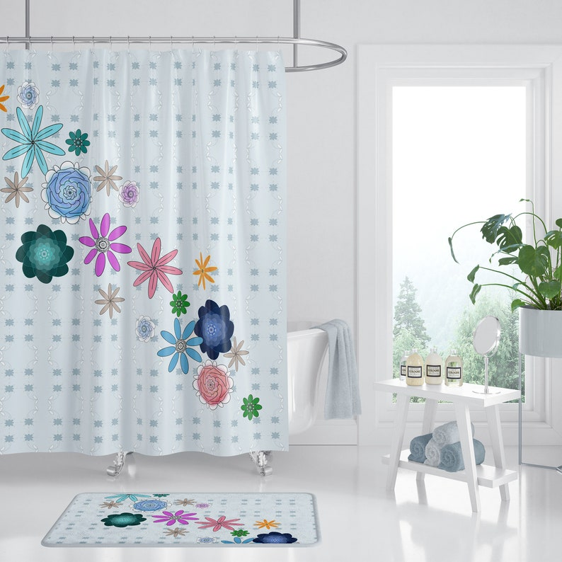 Floral Shower Curtain Bright Happy Flowers Fabric