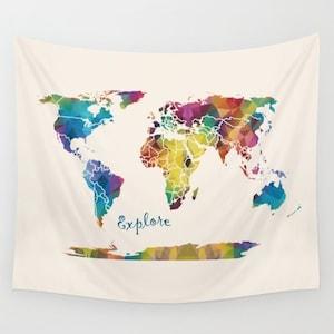 World Map Fleece Blanket throw cozy soft minimal sofa travel decor wanderlust warm bed winter cream couch