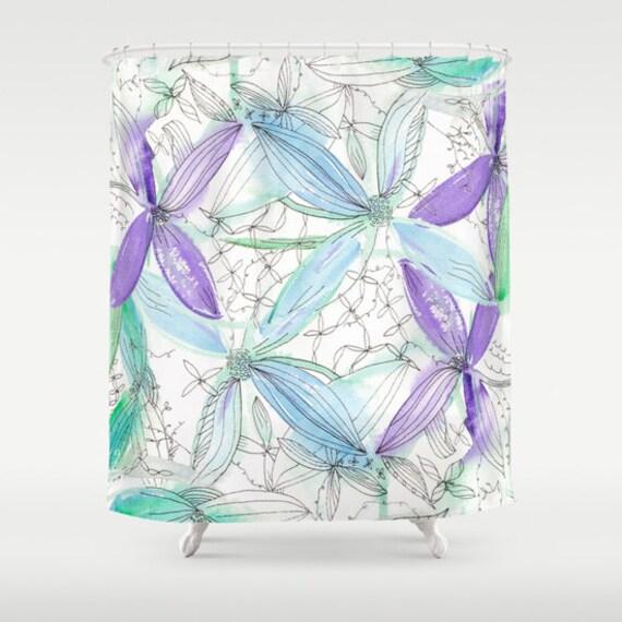 fr hling blumen duschvorhang aquarell blumen lila und etsy. Black Bedroom Furniture Sets. Home Design Ideas