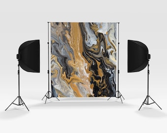Black and Gold Marble Photography Backdrop -  Party portrait photography, photo booth, portrait supplies
