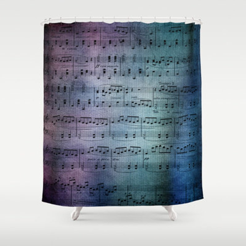 Sheet Music Shower Curtain Blue And Purple
