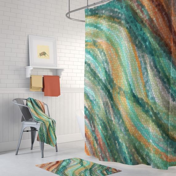 Wave Mosaic Shower Curtain Set Warm Colors Decor