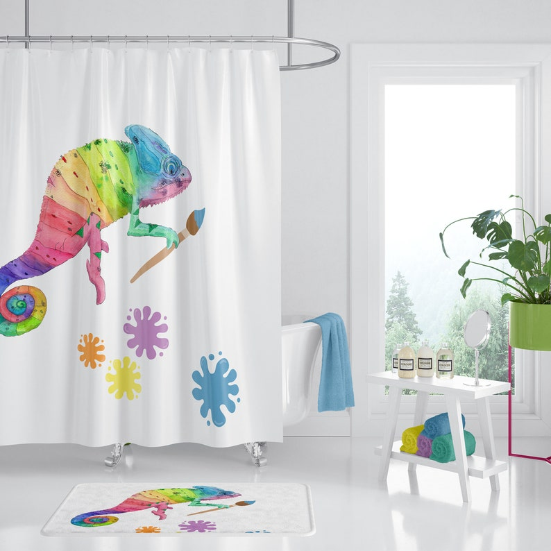 Artist Shower Curtain Rainbow Chameleon Vibrant Fabric