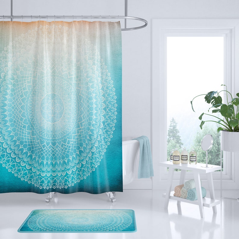 Teal Mandala Shower Curtain Coral Peach Geometric