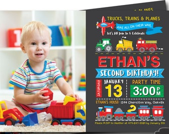 Truck Birthday Invitation FIRE TRUCK INVITE Tractor Birthday Invite Train Invite Boys Birthday Dumptruck Digital File Busy bee's Happenings