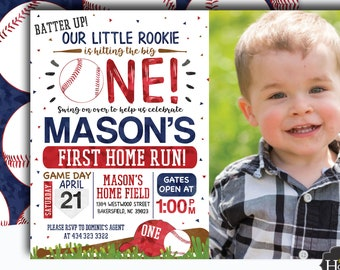 Baseball Birthday Invitation Rookie Of The Year Little Slugger Digital File Busy Bees Happenings