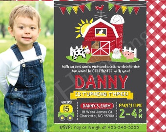 Farm Birthday Invitation Farm Birthday Farm Invitation Farm Party Old McDonald Invitation Farm Animal  Digital File by Busy bee's Happenings