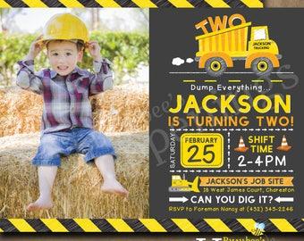 Construction Birthday Invitation Party Invite Dump Truck Digital File Busybee Happenings