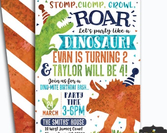 Dinosaur Birthday Invitation Double Invite T Rex Digital File Busy Bees Happenings