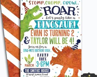 dinosaur birthday invitation dinosaur invitation double birthday dinosaur invite t rex birthday invite digital file busy bees happenings