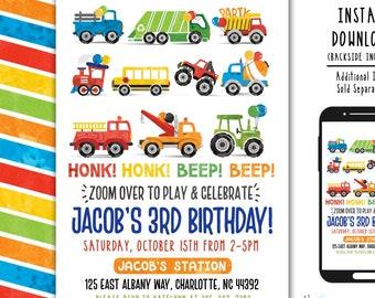 Transportation Invitation Car Birthday Invite TRUCK INVITE Truck Birthday Party Transportation Birthday Digital File Busy bee's Happenings
