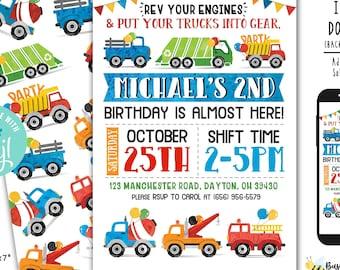 Transportation birthday Invitation Truck Birthday Invite  Car Birthday Invitation Boys Birthday invite Digital File Busy bee's Happenings
