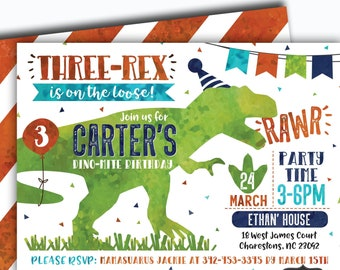 Dinosaur Birthday Invitation Three Rex Invite T Digital File Busy Bees Happenings