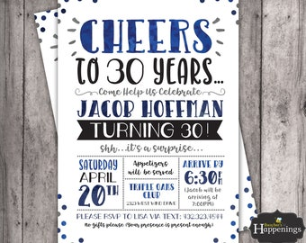 Thirty Birthday Invitation 30th Invite Adult Party Cheers To 30 Years Digital File Busy Bees Happenings