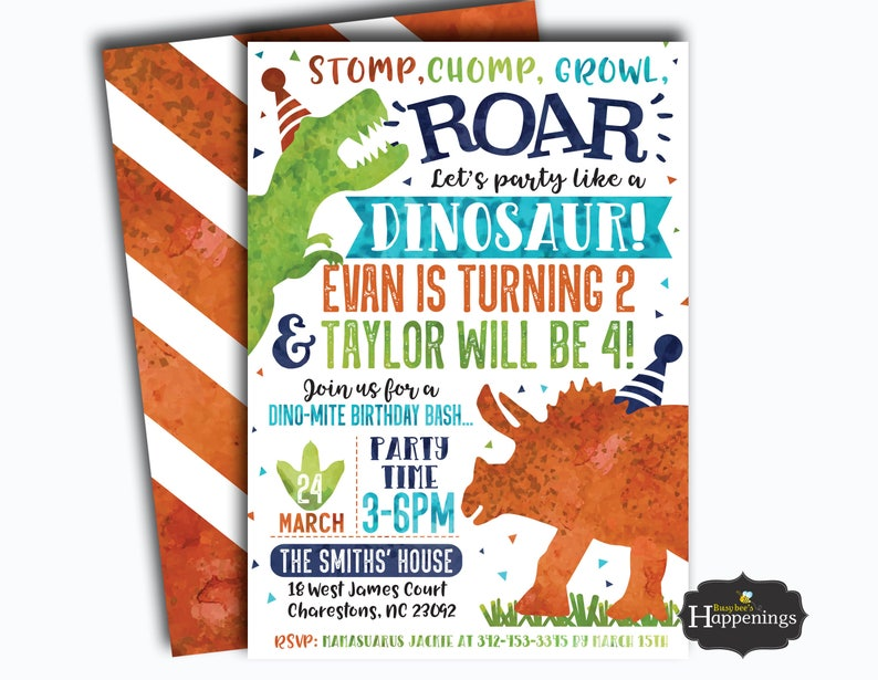 Dinosaur Birthday Invitation Double