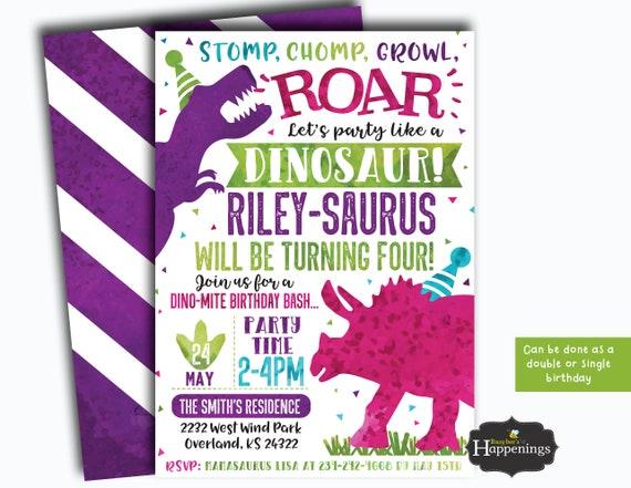 Girl dinosaur birthday party girl dinosaur birthday invitation etsy image 0 filmwisefo