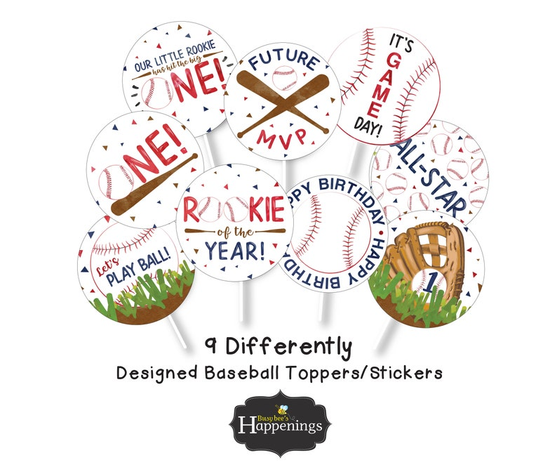 Baseball Cupcake Toppers Rookie of the Year Cupcake Toppers Baseball Cupcake Toppers Baseball Birthday Digital File by Busy bee/'s Happenings