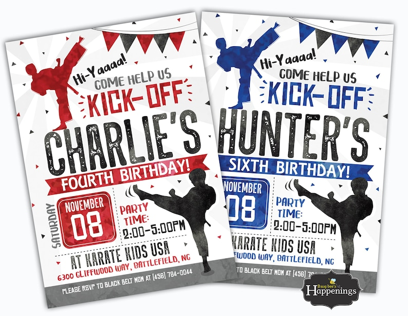 Karate Birthday Invitation Ninja Invite Party