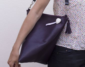 Cherry, purple genuine leather shoulder bag hand