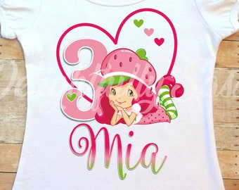 Birthday T-Shirt Party Favor Strawberry Shortcake Shirt Personalized