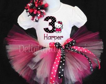Hello Kitty Birthday Tutu, Hello Kitty, Personalized Birthday Tutu, Birthday Tutu, Girls Tutu Set