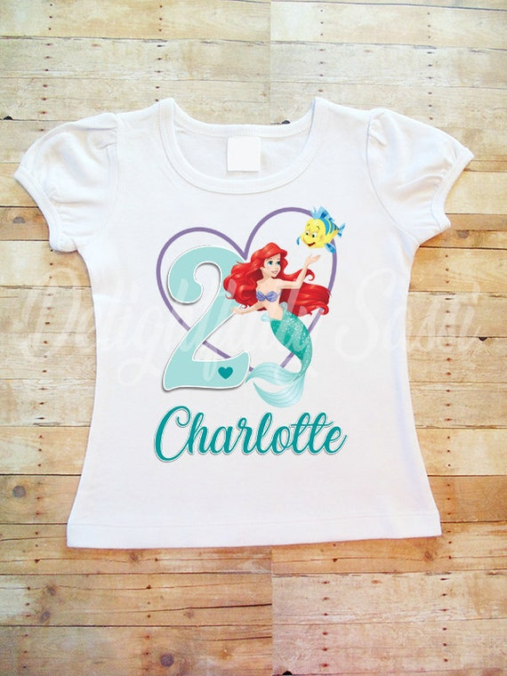 Ariel Birthday Shirt Little Mermaid Personalized