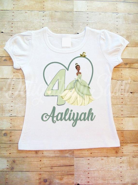 Tiana Princess and the Frog Birthday T Shirt Girls Princess Tiana Birthday Shirt