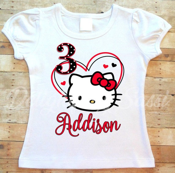 defbb0620 Hello Kitty Birthday Shirt Hello Kitty Shirt Personalized | Etsy