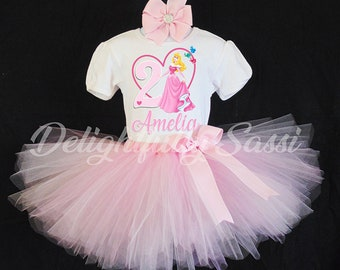 Sleeping Beauty Birthday Tutu, Princess Birthday Outfit, Sleeping Beauty Tutu Set, Birthday Tutu, Personalized Tutu Set, Princess Shirt