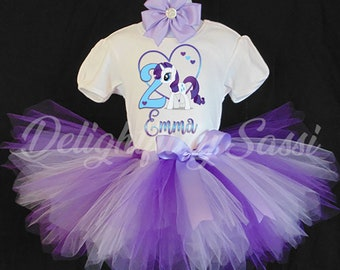 My Little Pony Tutu Set, Rarity, Purple Tutu Set, Girls Birthday Tutu, Birthday Tutu, Rarity Purple Tutu, Personalized Tutu Set