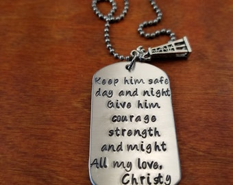 hand stamped personalized oilfield necklace keep him safe roughneck gift oil derrick jewelry on a rig hitch life oil field key chain
