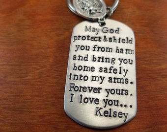 Police prayer key chain Blessed be God my rock Military | Etsy