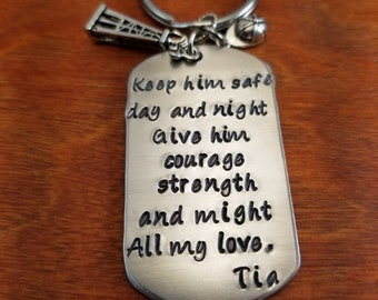 oilfield key chain keep him safe oilfield gift roughneck key chain derrick hitch life personalized hand stamped