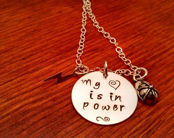 Hand stamped-Electric power worker necklace-My heart is in power-lineman wife necklace-Electric worker's wife-lightning bolt necklace-power
