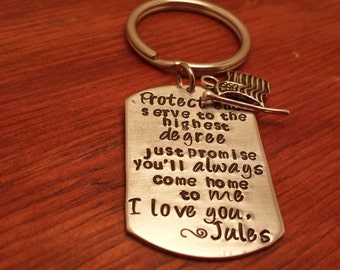 Personalized-military key chain-Protect and serve-Gift for deployed soldier-Military gift-Soldier gift-Always come home to me-deployment