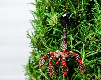 Red Spiral Phage Ornament, Bacteriophage Artwork, Virus Sculpture, Science Christmas Ornament, T4 Cell, Scientist Gift, Genetics Art