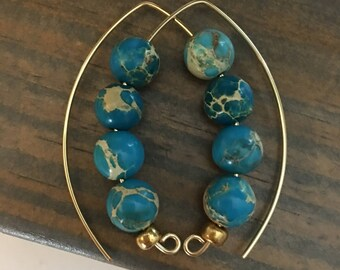 Aqua Terra Jasper Drop Earrings / Half Hoop /  qty 1