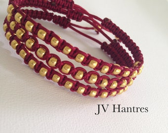 FSU/Seminoles Stackable Garnet and Gold Beaded Macrame Bracelet(s) -u pick quantity