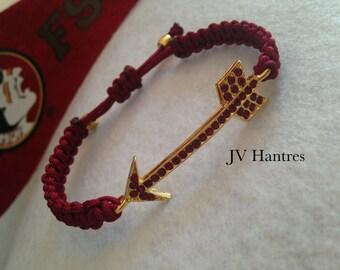 """FSU """"Fear the Spear"""" (GARNET RHINESTONE) Game Day Bracelet"""