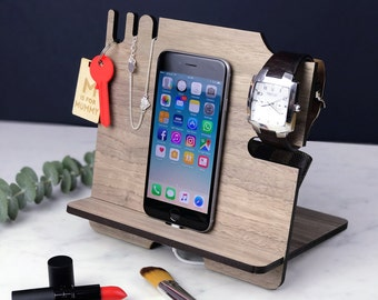 Docking Station - iPhone Stand and Organizer – Wooden Walnut Mobile Phone Night Stand – Christmas Gift for her, mom, Girlfriend, office