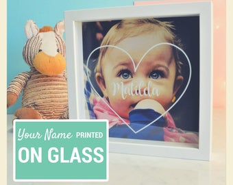 Personalised Child Photo Frame - Name gift for Boys or Girls - Birthday Christmas Gift - Kids room decor - Christening Newborn baby