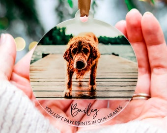 Christmas Dog Memorial Ornament Gift, Photo Ornaments, Dog Lovers Memorial Gift, Custom Pet Memorial Ornament, Personalised Tree Decorations