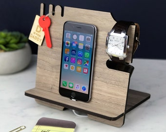 Charging Station, iPhone Stand, Husband gift, Gift for Dad, Boyfriend, Mobile phone & tablet Docking Station, Father's Day gifts, Birthday