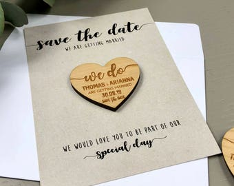 Save The Date Magnet with Cards - Personalised Save-the-Date Wedding Invitation Card Rustic Heart Summer - Wooden Save The Dates - Kraft