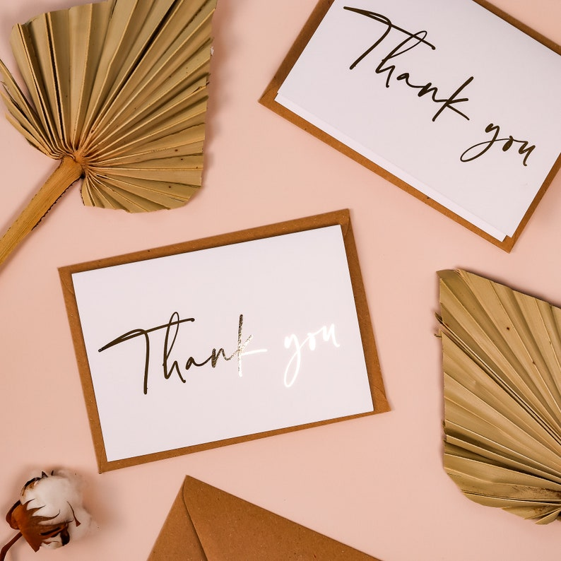 Personalised GOLD FOIL Wedding Thank you Cards Envelope Bridesmaids Gifts Multi Pack Bridal Shower Anniversary Wedding Note Card