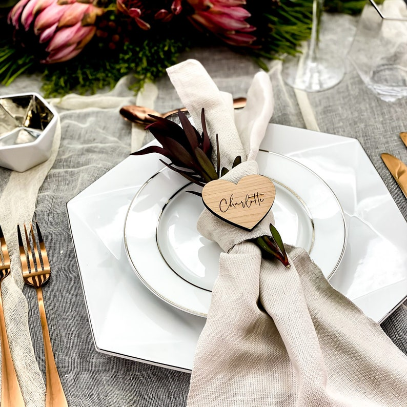Personalised Wedding Place Names Wooden Heart Place Setting image 0