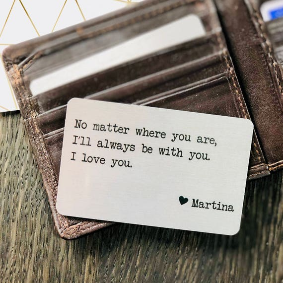 Personalized Metal Wallet Insert Card With Any Text / Quote, Father's Day Gifts, Boyfriend Girlfriend Husband Wife, Printed On Aluminium by Etsy