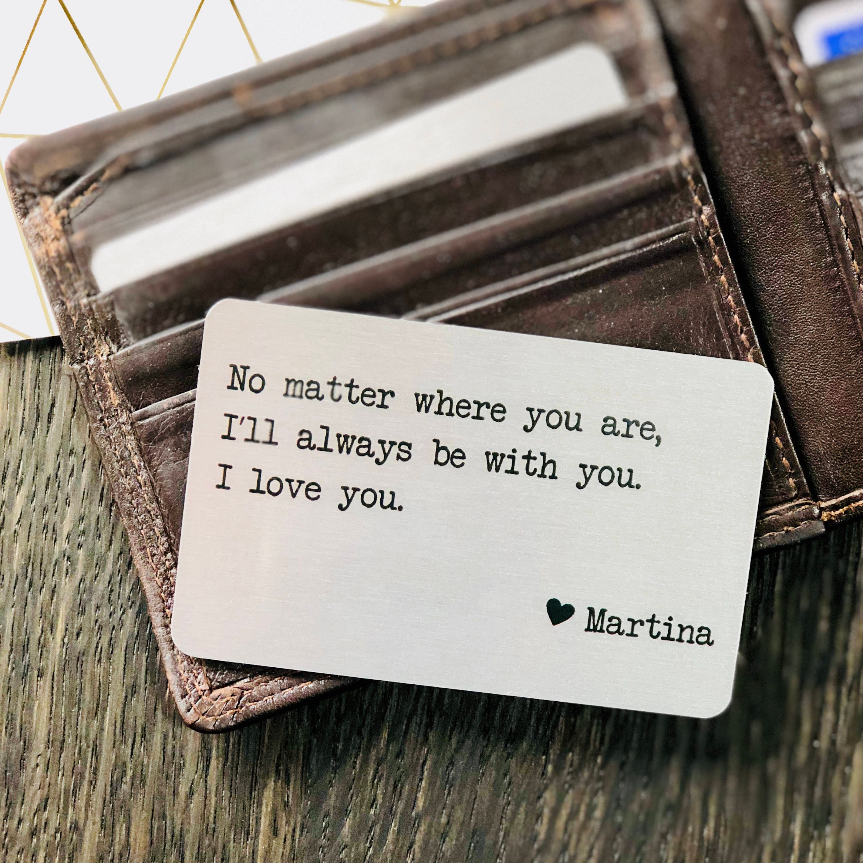 Personalized Metal Wallet Insert Card With Any Text Quote Etsy