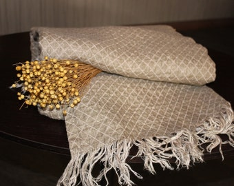 Soft linen and fine texture blanket, throw, bed cover - 100% linen