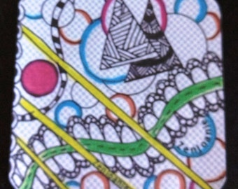 "Zentangle Coasters - Fun Drinking Coasters - Set of Artistic Coasters hand drawn by ZenJoanie - ""PathWay"""